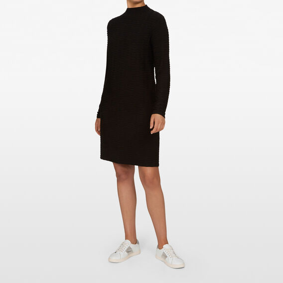 TEXTURED SHIFT DRESS  BLACK  hi-res