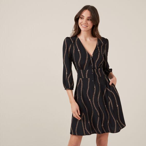 CHAIN PRINT DRESS  BLACK  hi-res