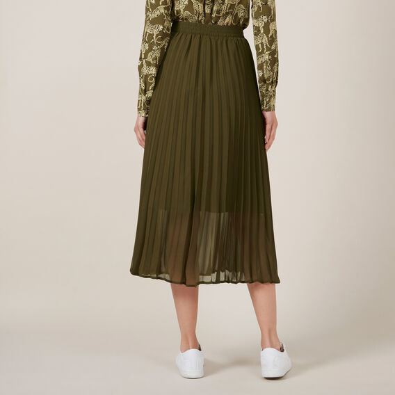 KHAKI PLEAT SKIRT  KHAKI  hi-res