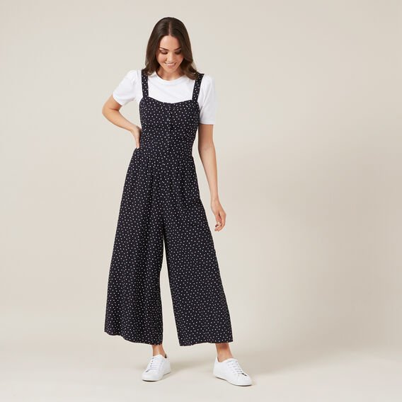 SPOT WIDE LEG JUMPSUIT  NAVY  hi-res