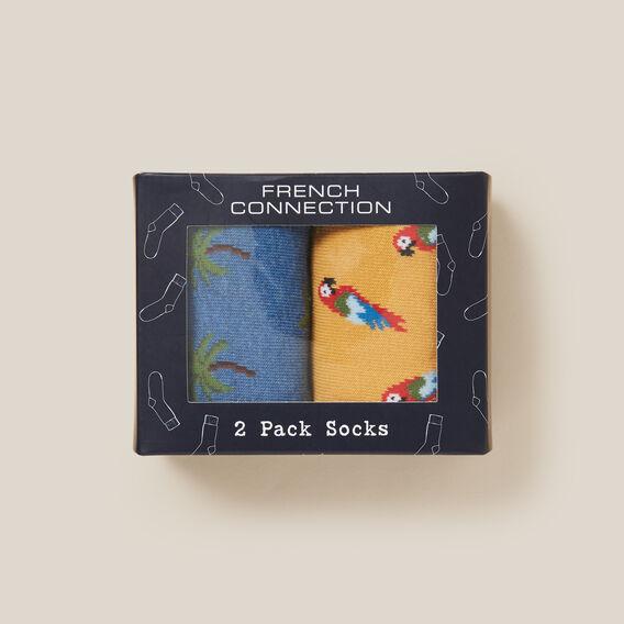 2PK BOXED SOCKS  PARROT/PALM TREE  hi-res