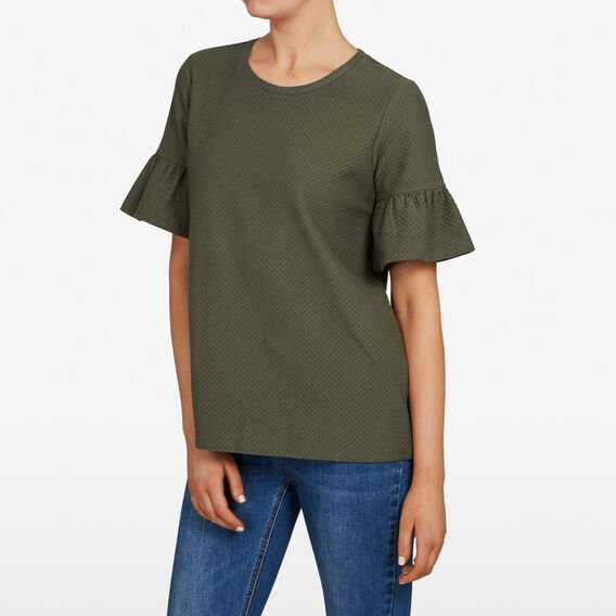 RUFFLE SLEEVE TOP  KHAKI  hi-res
