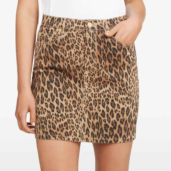 ANIMAL PRINT DENIM SKIRT  MULTI  hi-res