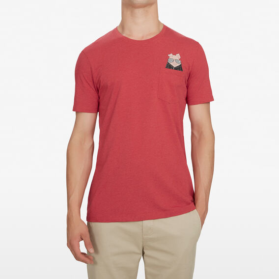 BIKER PIG T-SHIRT  RED MARL  hi-res