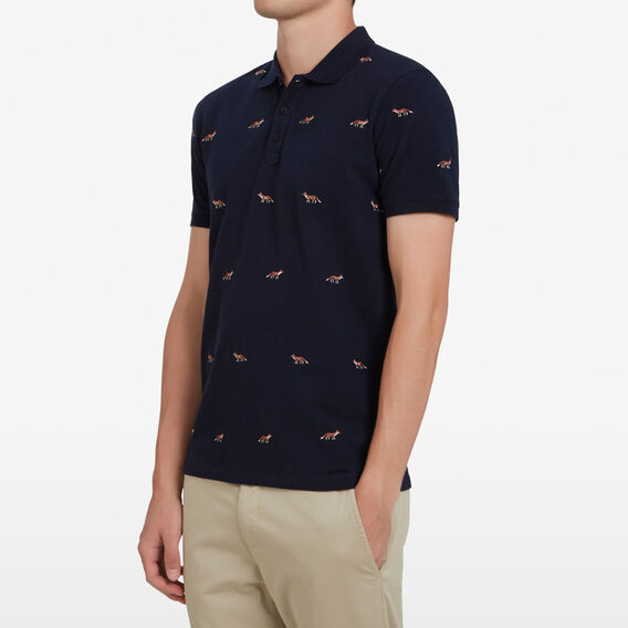 EMBROIDERED FOX POLO  MARINE BLUE  hi-res