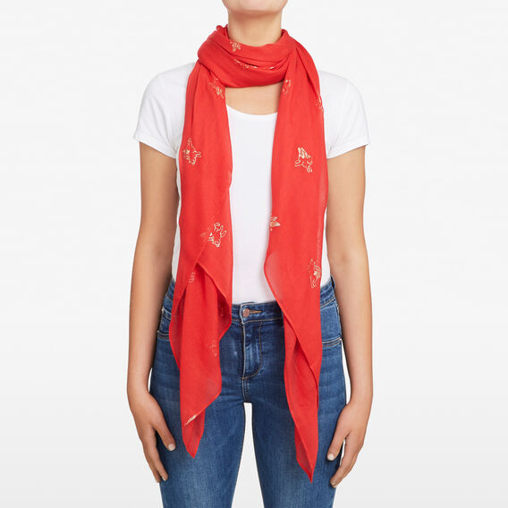 FLYING PIG SCARF  RED/GOLD  hi-res