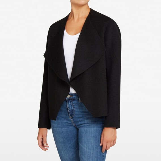 WATERFALL WOOL JACKET  BLACK  hi-res