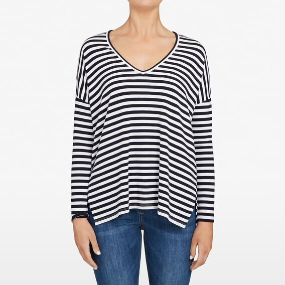 STRIPE SLOUCHY TEE  NOCTURNAL/SUMMER WHI  hi-res