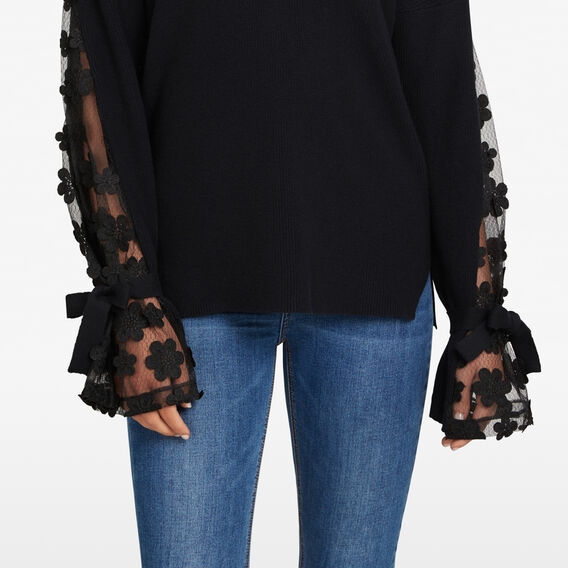 FLORAL LACE KNIT  BLACK  hi-res
