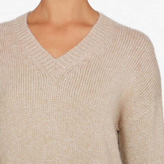 LUREX V NECK KNIT  OATMEAL/LUREX  hi-res