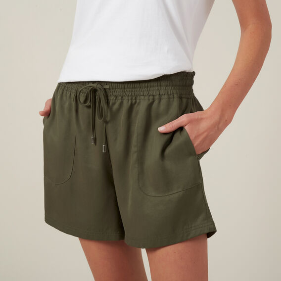 TENCEL DRAWSTRING SHORT  KHAKI  hi-res