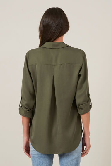 BUTTON THROUGH SHIRT  KHAKI  hi-res