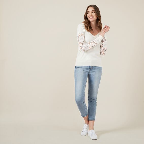 V NECK FLORAL SLEEVE KNIT  WINTER WHITE  hi-res
