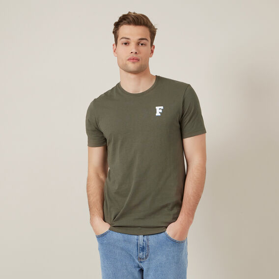 F CHEST PRINT T-SHIRT  KHAKI  hi-res