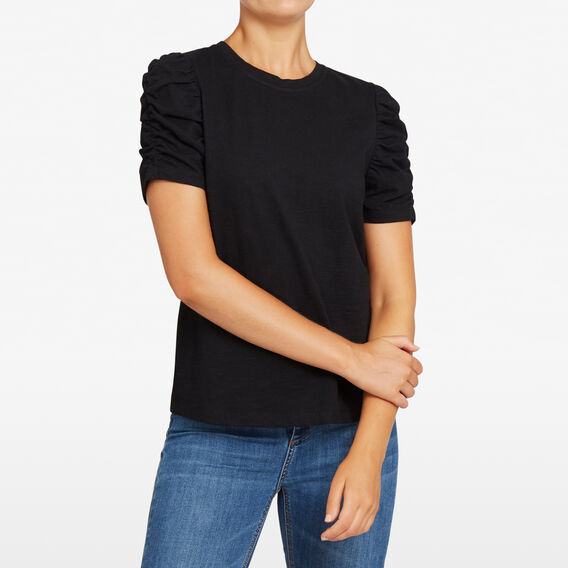 ROUCHED SLEEVE TEE  BLACK  hi-res