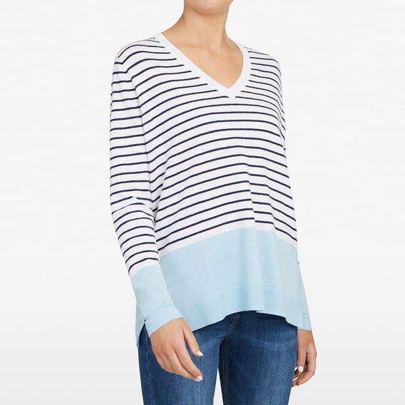 LINEN V NECK STRIPE KNIT  CHAMBRAY/NOCTRNL/SUM  hi-res