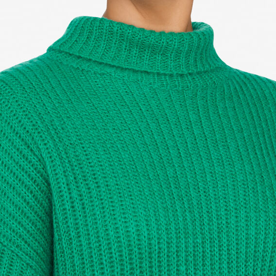 ROLL NECK SLOUCHY KNIT  LEAF GREEN  hi-res