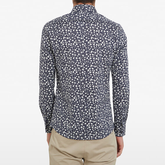 WHITE FLORAL TAILORED FIT SHIRT  MARINE BLUE  hi-res