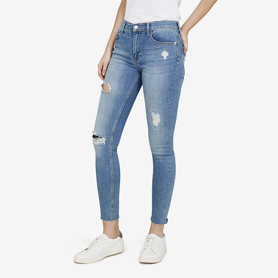 FRAY HEM DISTRESSED JEAN  DISTRESSED DENIM  hi-res