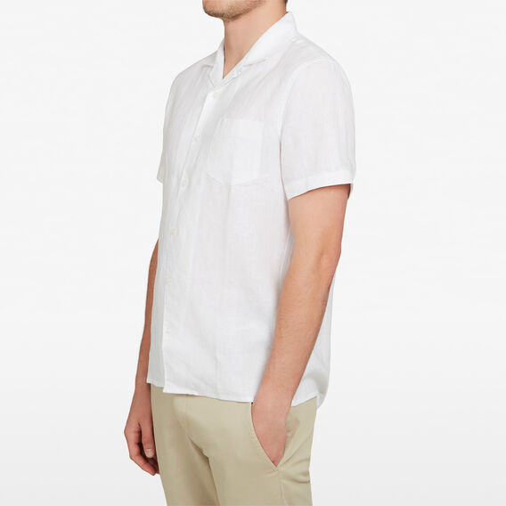 CAMP COLLAR LINEN CLASSIC FIT SHIRT  WHITE  hi-res