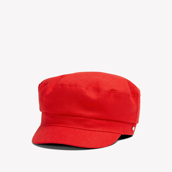 RED LINEN PAPERBOY HAT  RED  hi-res