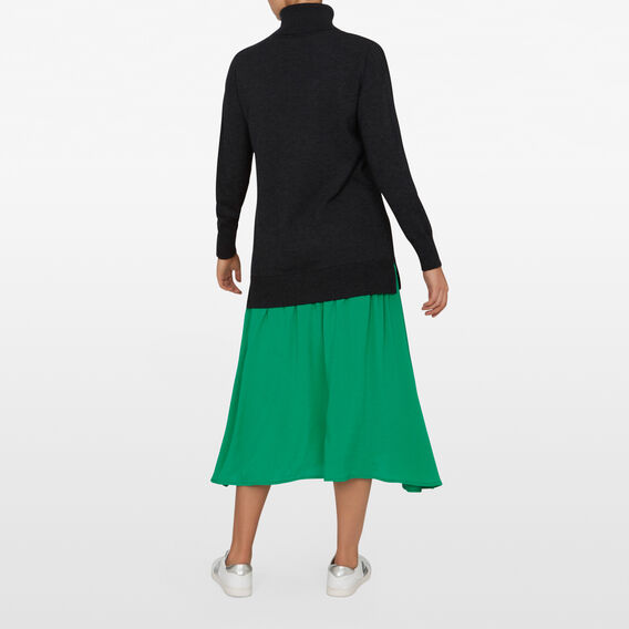 SPLICED SWEATER DRESS  CHARCOAL/GREEN  hi-res