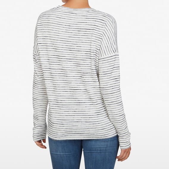 STRIPED V NECK LONGSLEEVE  WHITE/NAVY MARLE  hi-res