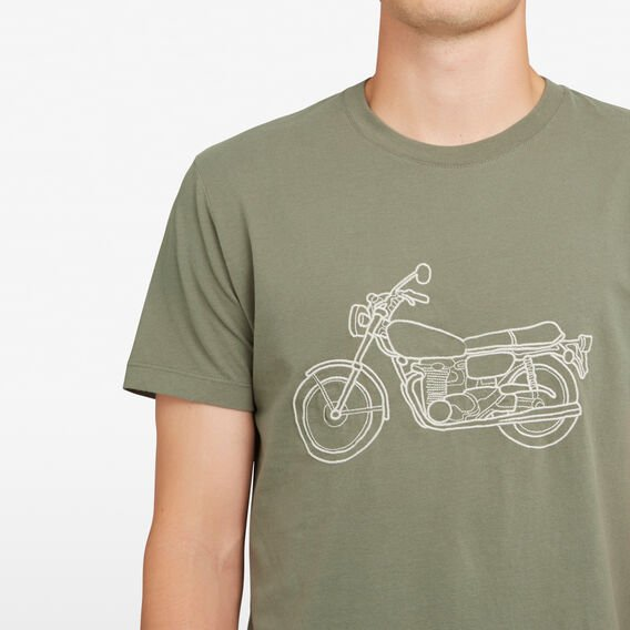 EMBROIDERED MOTORBIKE T-SHIRT  DUSTY OLIVE  hi-res
