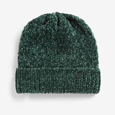 CHENILLE BEANIE  FOREST GREEN  hi-res