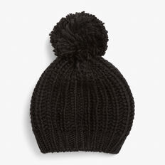 KNITTED POM BERET  BLACK  hi-res