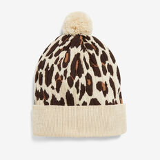 ANIMAL CONTRAST BEANIE  SAND/MULTI  hi-res