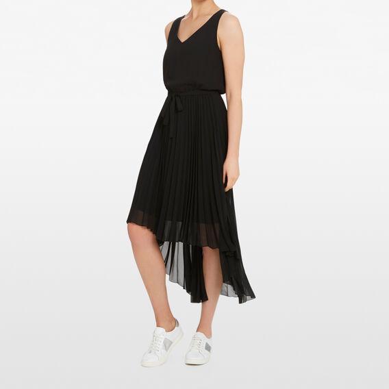 PLEATED V NECK DRESS  BLACK  hi-res