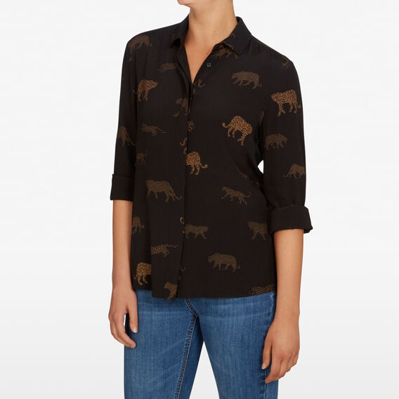 LEOPARD ANIMAL PRINT SHIRT  BLACK/MULTI  hi-res