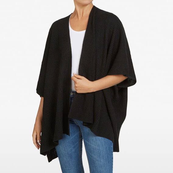 LIGHTWEIGHT AUTUMN PONCHO  BLACK  hi-res