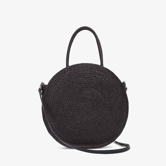 POM POM ROUND STRAW BAG  BLACK/MULTI  hi-res
