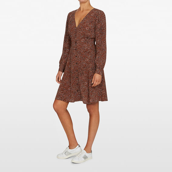 SPOT LONG SLEEVE  DRESS  TOFFEE/MULTI  hi-res