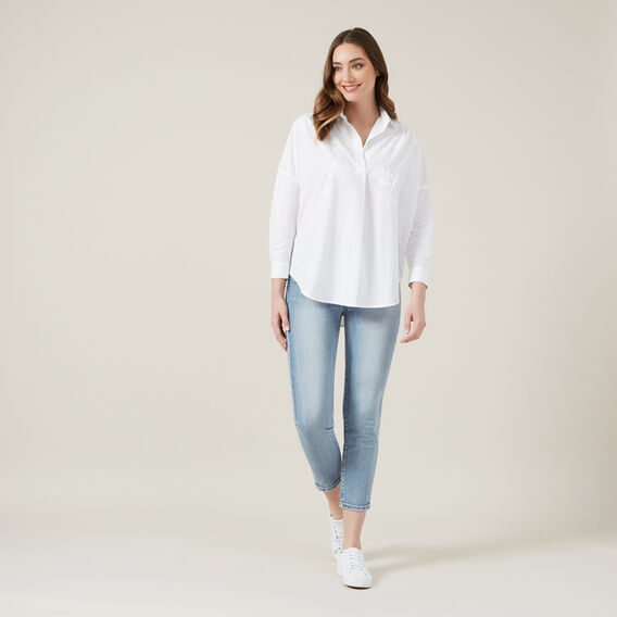 RHODES EMBROIDERED POPOVER  SUMMER WHITE  hi-res