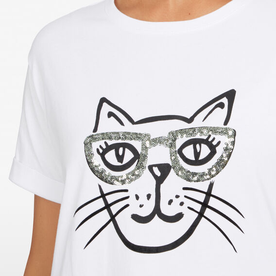 FUN CAT TEE  WHITE/BLACK  hi-res