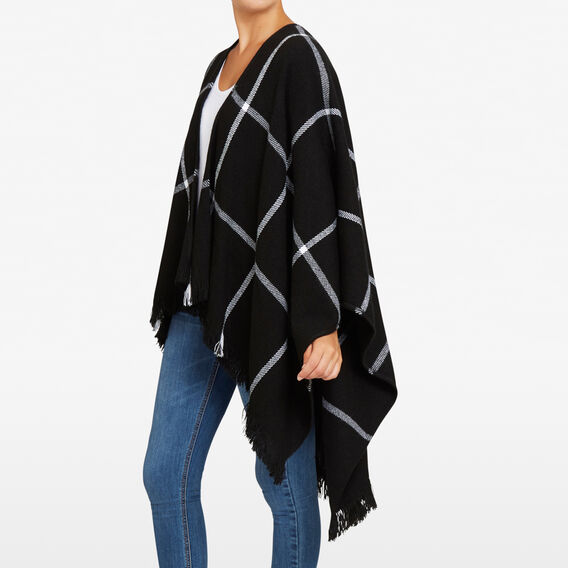 CHECK BLANKET PONCHO  BLACK/SUMMER WHITE  hi-res