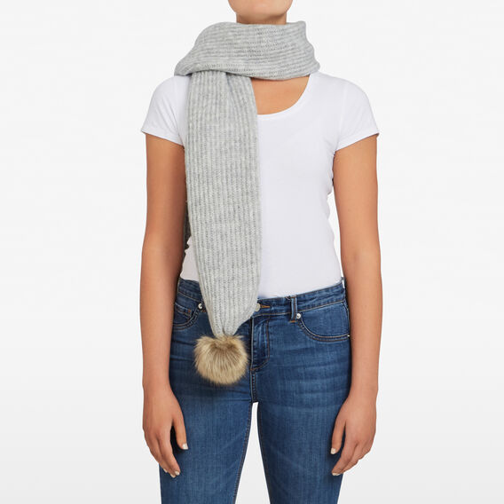 LARGE POM SCARF  SOFT GREY  hi-res