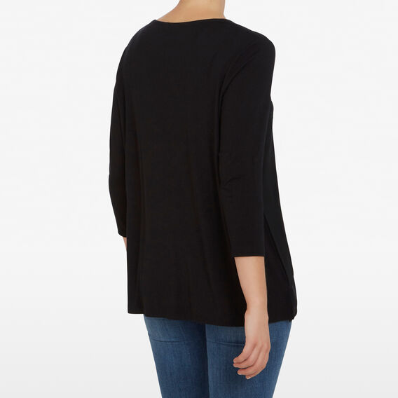 SPLICED V NECK TOP  BLACK  hi-res