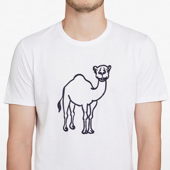 CAMEL EMBROIDERED T-SHIRT  WHITE  hi-res