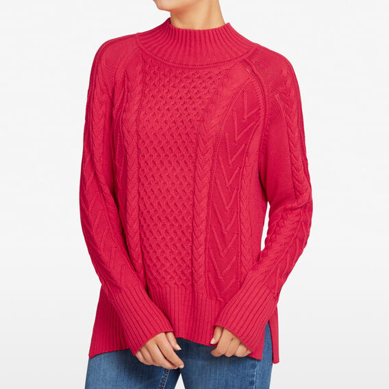HIGH NECK CABLE KNIT  RED  hi-res