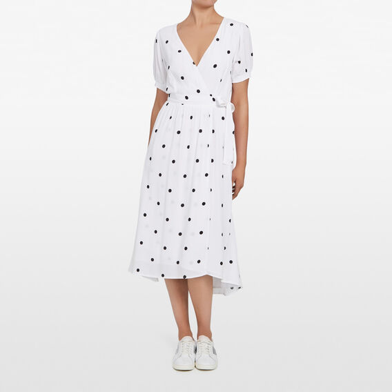 LARGE SPOT WRAP DRESS  SUMMER WHITE/BLACK  hi-res