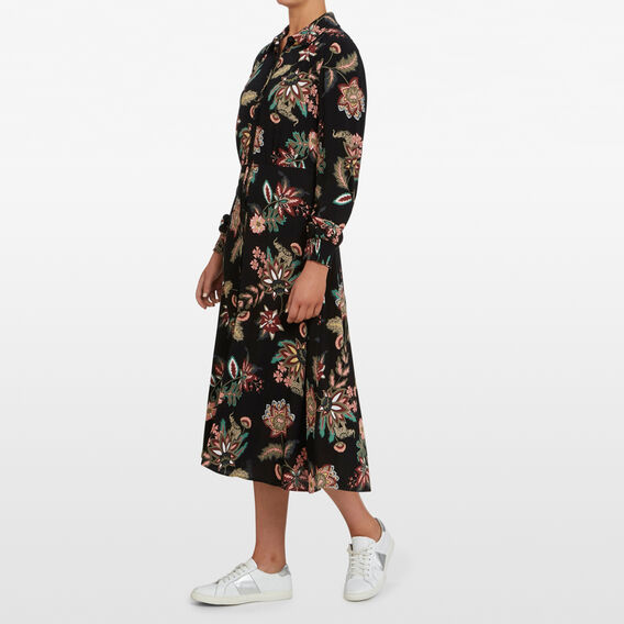JUNGLE FLORAL MIDI DRESS  BLACK/MULTI  hi-res