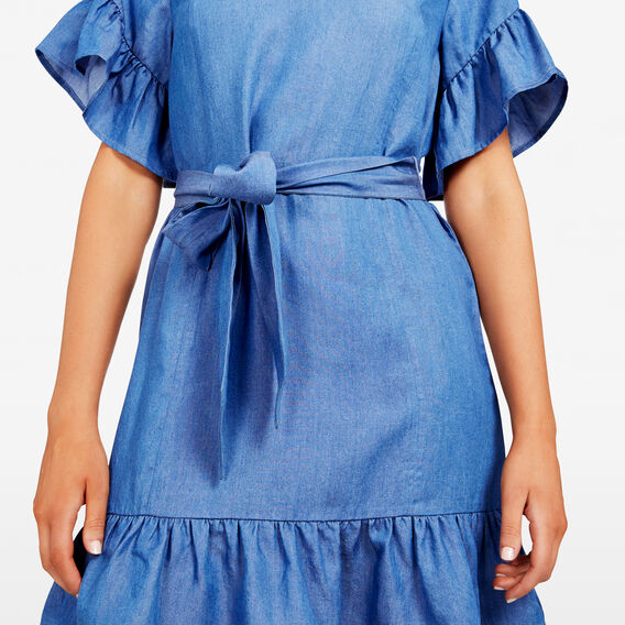 RUFFLE SLEEVE CHAMBRAY DRESS  CHAMBRAY  hi-res