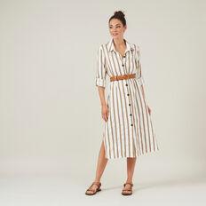 LINEN STRIPE SHIRT DRESS  WHITE/TAN  hi-res