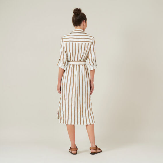 LINEN STRIPE SHIRT DRESS  WHITE/TAN  hi-res