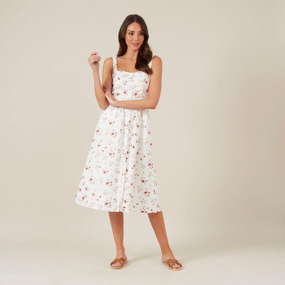 LINEN FLORAL BUSTIER DRESS  OFF WHITE  hi-res