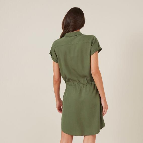 TENCEL SHIRT DRESS  KHAKI  hi-res